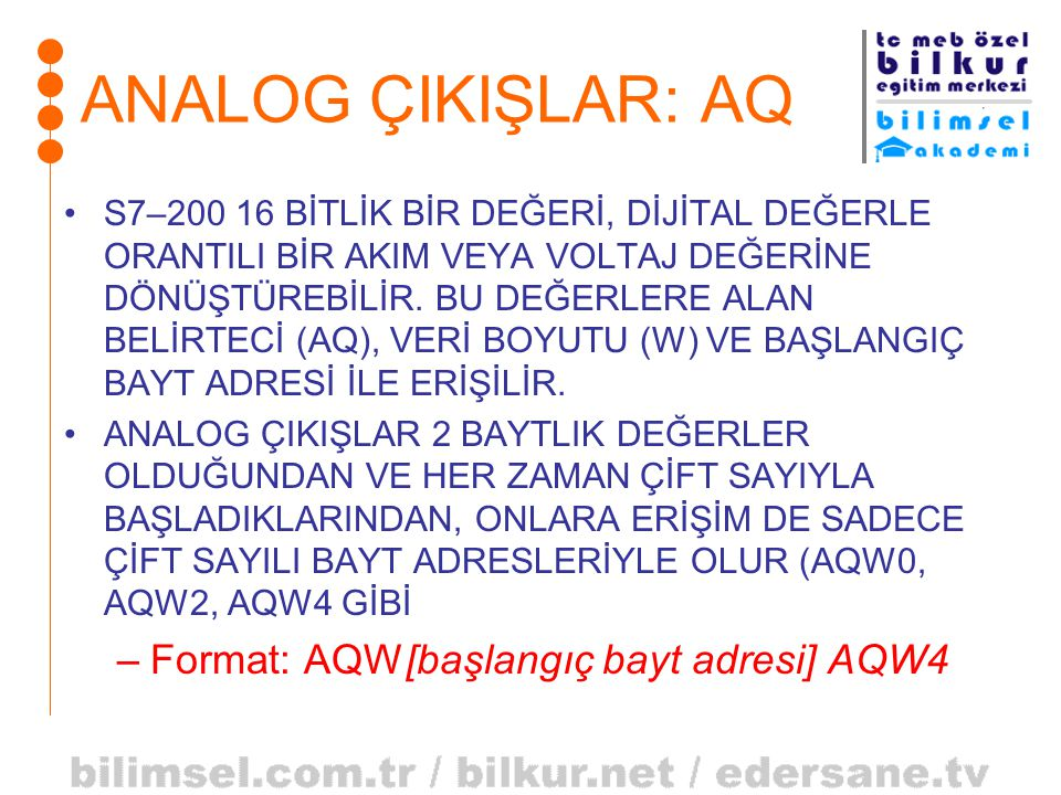 ANALOG ÇIKIŞLAR: AQ Format: AQW[başlangıç bayt adresi] AQW4
